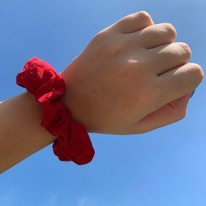 red satin scrunchies!